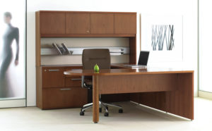Expansion Wood Typical D Shaped Peninsula Desk