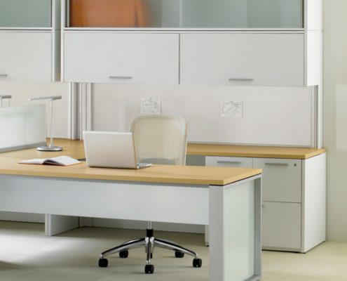 Expansion Desking Modular Desk with Double Overhead Frame Leg