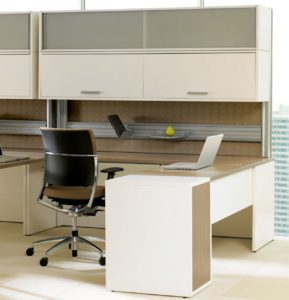Expansion Desking Modular Desk with Double Overhead Supporting Pedestal