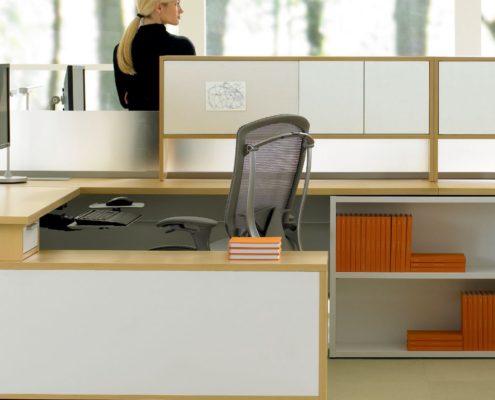Expansion Desking Spine Desk with Return and Low Credenza Detail