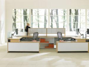 Expansion Desking Spine Desk with Return and Low Credenza Half