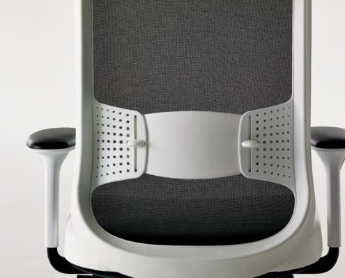 Low Projek Task Chair Back View Veil Noir Mesh Very White Frame 4D Arms