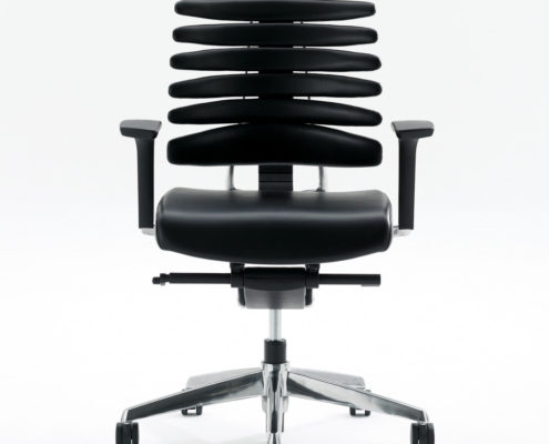 RBT Task Chair Front View Polished Aluminum Base
