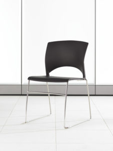 Volume Stacking Chair Espresso Shell Chrome Frame