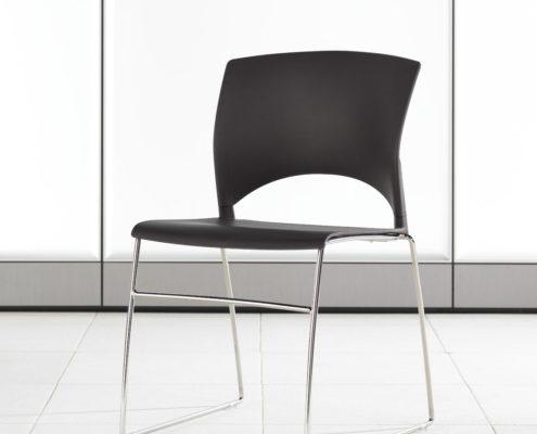 Volume Stacking Chair Espresso Shell Chrome Frame