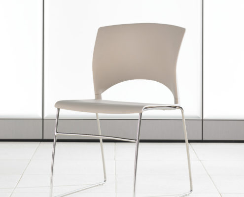 Volume Stacking Chair Latte Shell Chrome Frame Armless
